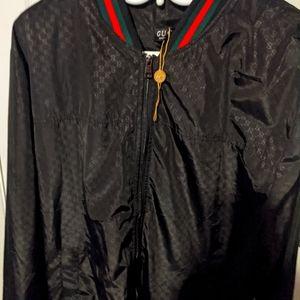 Gucci Black Satin Bomber Jacket
